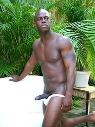 Ebony stud Brain shows his boner outdoors