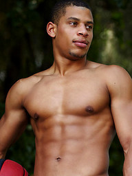 Ebony stud shows his perfect ripped body